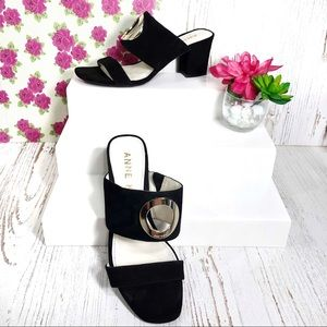 Anne Klein black suede block heel open back sandal